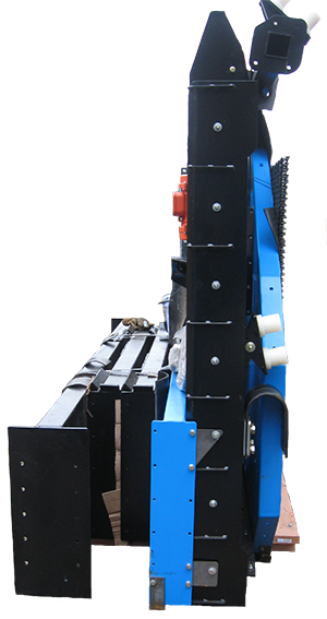Side View of DeSite SLG-108-RB Topsoil Screener packaged and ready to ship
