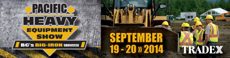 Topsoil screeners on display at the pacific heavy equipment show