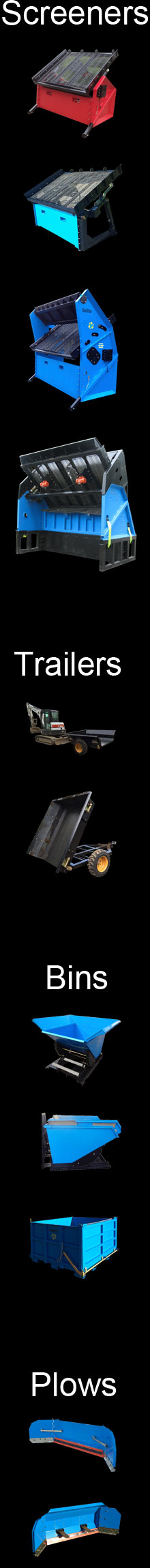 Factory financing on Soil Screeners, Dump Bins and Mini Dump Trailers.