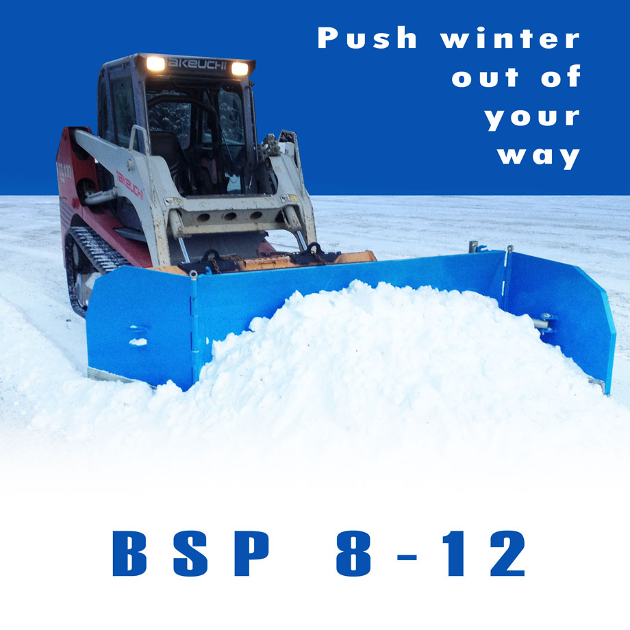 Push Winter Out of Your Way with a snow plow that attaches to a skid steer or fork lift